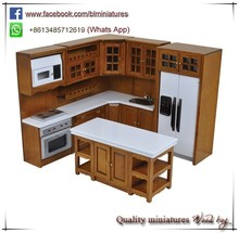 1:12 Fashion Kids Wooden Miniature Toy 6pc Kitchen Set 1 Inch Scale Dollhouse Furniture