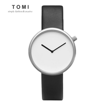 TOMI Minimalist Style Men Women Watch Fashion Casual Leather Quartz Wristwatch Waterproof Analog Sport Clock Relogio Feminino
