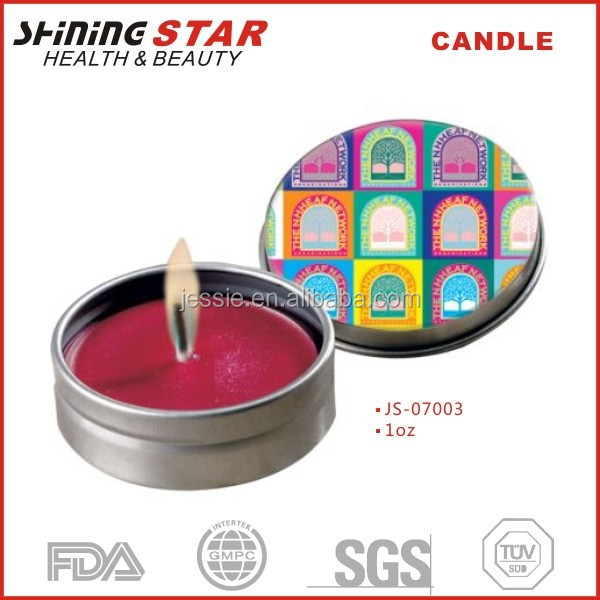 JS-07003 Christmas candle decorations 1oz ,classic small gift candle tin