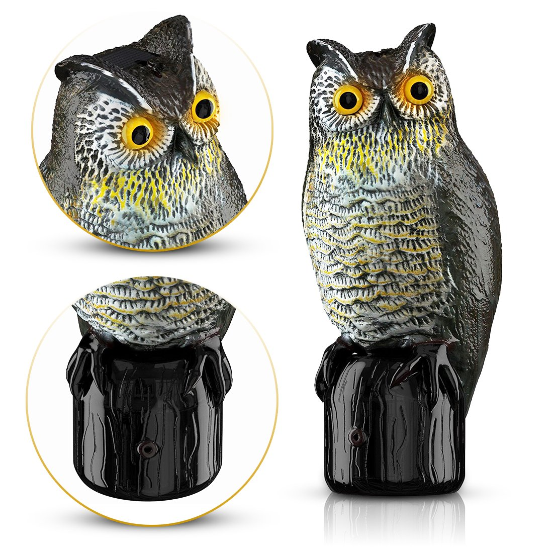 New Garden Waterproof Solar Powered White Grey Owl Light Up Stake Yard Decor Decoration