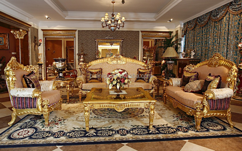 Luxury French Rococo Wood Carved Goldleaf Living Room Sofa Set/ European Antique Royal Palace Golden Decorative Fabric Sofa Set