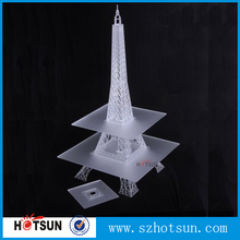 Laser cut frosted decorative acrylic eiffel tower cupcake stand
