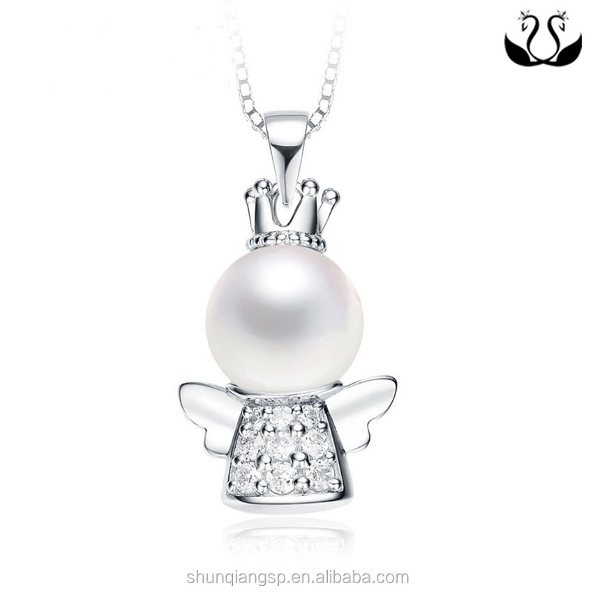 Wholesale Accessories Jewelry Women 925 Sterling Silver Pearl Cage Angel Wing Pendant