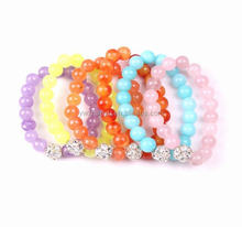 2015 colors natural stone crystal ball elastic bracelet for girls