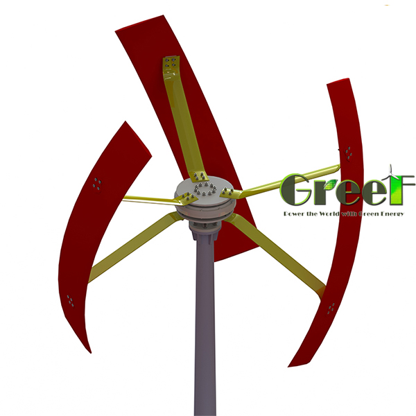 Small helical vertical axis wind generator, roof-mounted VAWT for home use