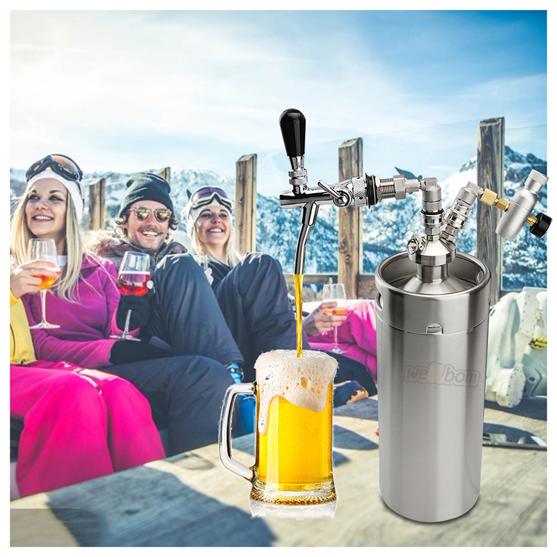 Stainless Steel Beer Dispenser 3.6L128oz Mini CO2 Regulator Beer Keg System Kit Homebrew Beer