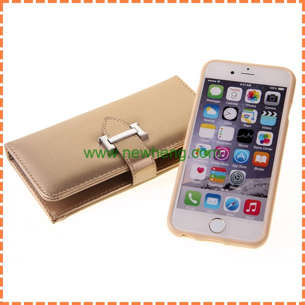 Luxury sheep pattern wallet detachable leather case with zipper for iphone6