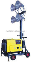 Mobile light tower with 4 x 400w lamps and 5kw generator