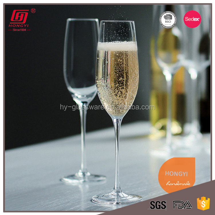 Hot sale crystal glassware handmade mouth blown lead free champagne glass flute