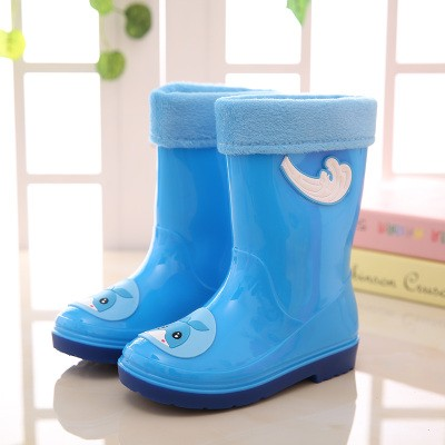 Cheap kids pvc rain boots with fur ling /ling cotton