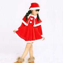Wholesale Kids Clothing Christmas Children Party Baby Girls Dress With Cape and Hat SD005