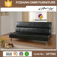"""IOWA""Black Faux Leather Click Clack/Clic Clac Sofa Bed/Futon"