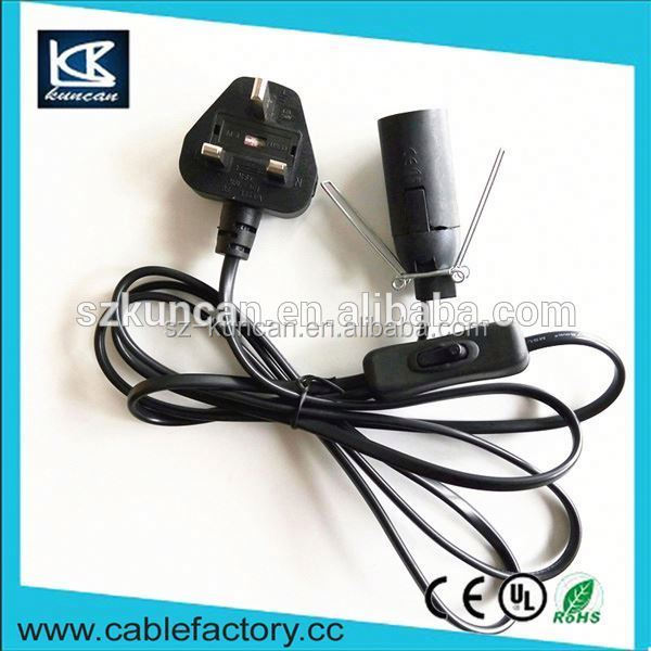 With E12/E14 busb holder colored power cord with braided