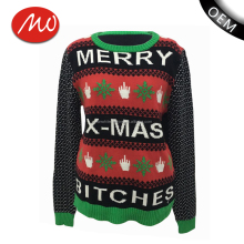 Unisex funny knitted jacquard novelty pullover christmas sweater for wholesale