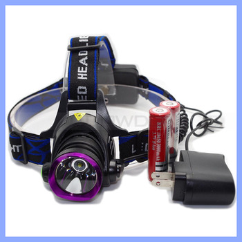 High Power XM-L T6 LED Rechargeable Torch Headlamp Camping Emergency Headlight 2X 18650 Battery With EU AC Charger
