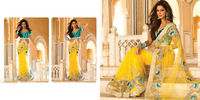 Heavy Handwork Diamond Work Yellow Blue Saree