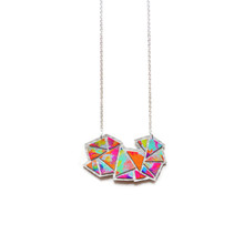 Colorful Rainbow Necklace,Art Hand Painted Necklace, Geometric Triangle Leather Necklace Jewelry