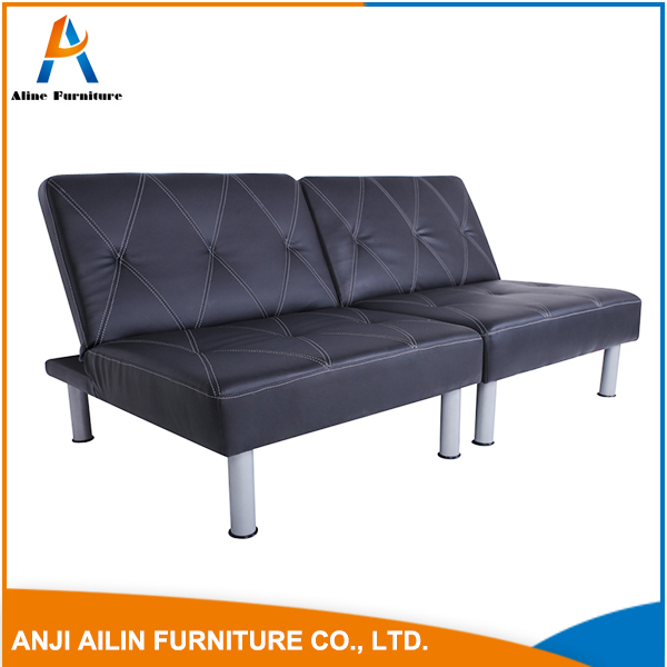 PU leather sofa bed with wooden frame for living room