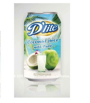 Canned Coconut Juice with Pulp ( D'lite brand 330 ml)
