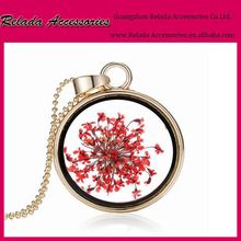 Fashion hanging clear glass ball accessories jewelry round pendant DIY Glass ball necklace with dry flower