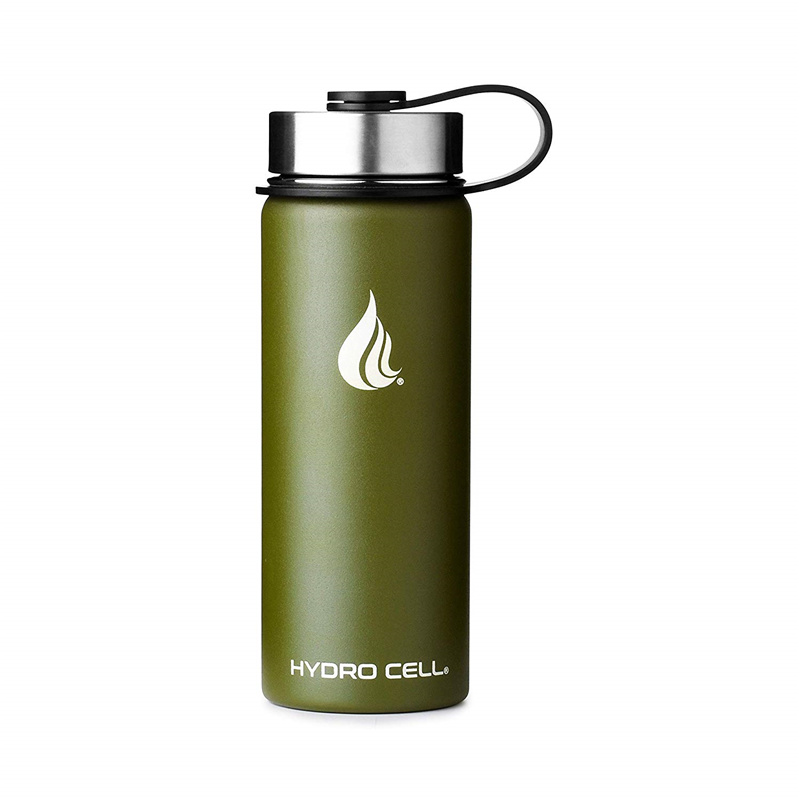 HYDRO CELL Stainless Steel Water Bottle Straw & Wide Mouth Lids - Keeps Liquids Hot or Cold with Double Wall Vacuum Insulated