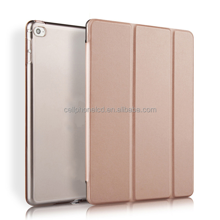 Joy Colors Ultra Slim Silk Smooth Leather Case Smart Shell Stand Cover Transparent Frosted Back Protector for iPad 2017 9.7 12.9