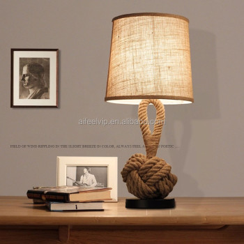 Use in bedroom or hotel linen lampshade hemp rope table lamp