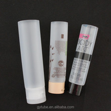 clear cosmetic plastic cylinder tube with lid , plastic transparent tube packaging