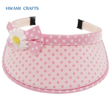 High Quality Fashion dot printed & craft flower plastic hair band accessories sun caps for girls P-687