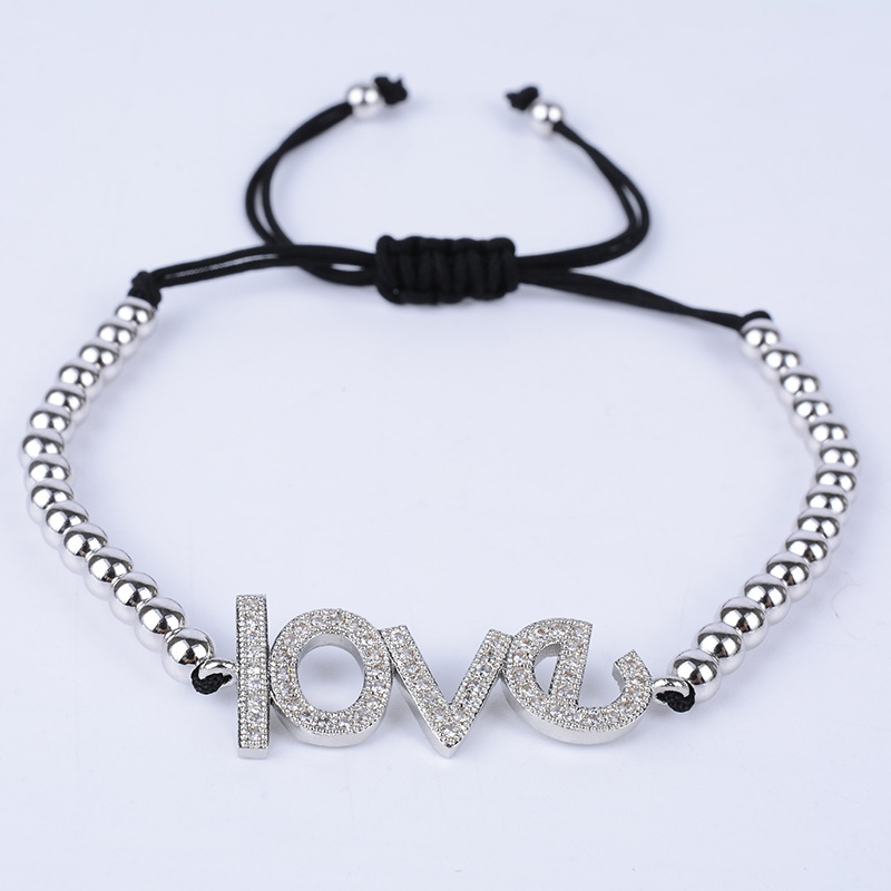 Saudi gold bracelet jewelry love letter designs ladies dubai braiding macrame beads bracelet , Valentine's Day best gifts