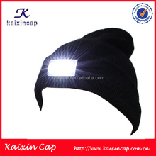 high quality name brand fleece kinitted winter beanie hat with led light