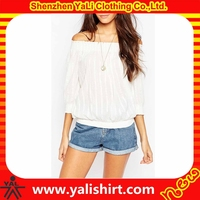 Hot selling sexy cheap off shoulder 3/4sleeve 100%viscose 120 gsm white t shirt for women