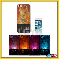 2014 new trendy 3D Scorpid Pattern LED Changed Sense Flash Light Effect Plastic pc tpu Case for iPhone 5 & 5S