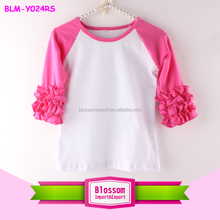 Brand boys 3/4 ruffles sleeve blank t-shirt watermelon sleeve white shirts size 4 toddler icing raglan tee character kid t-shirt