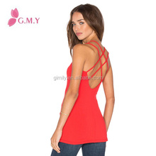 ladies sexy cotton red backless blank halter tops