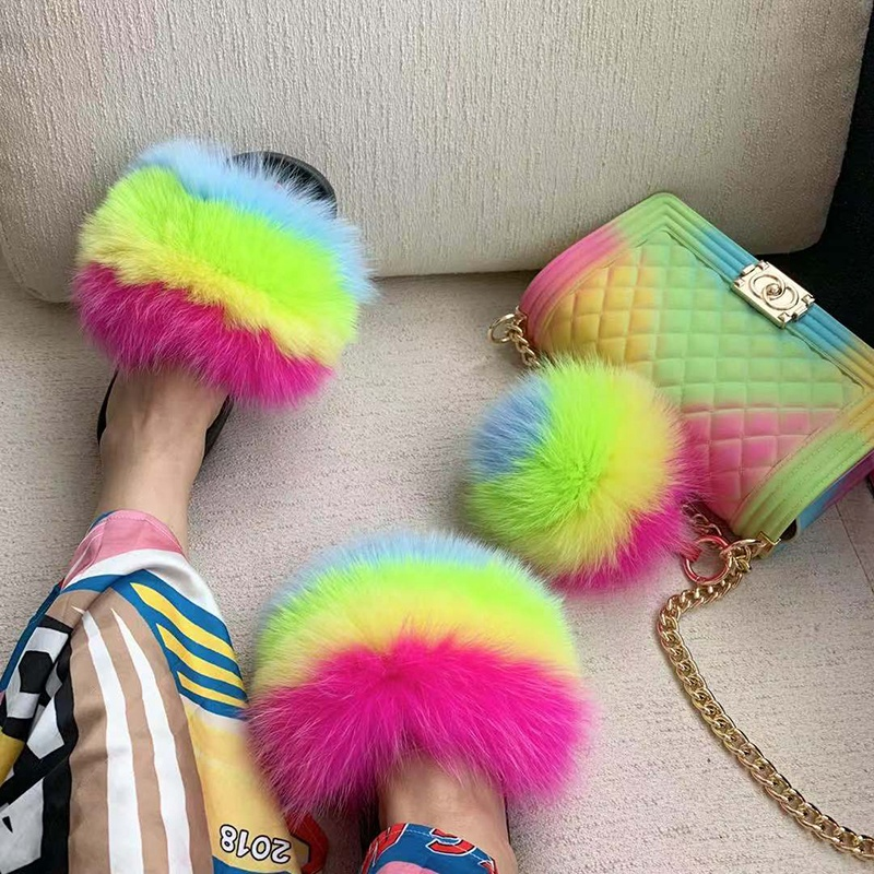 Popular style slides sandals soft fox and racoon fur slippers women