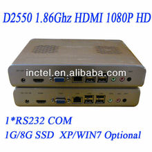 New released D2550 CPU included 1.8Ghz fanless mini pc htpc itx with PXE boot HDMI COM DB9 ports