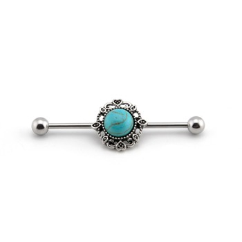 Tribal Sun Turquoise Industrial Barbell Scaffold Piercing jewelry