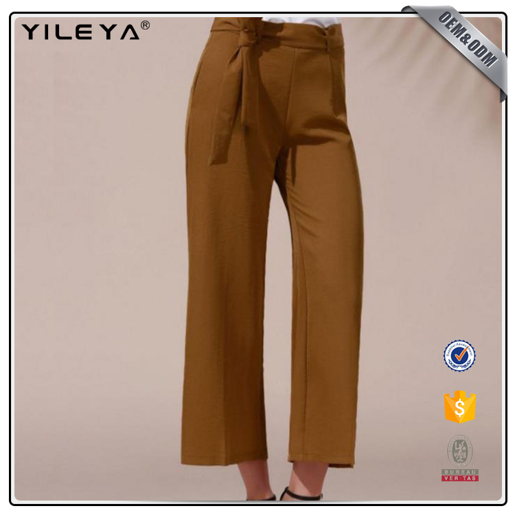 2017 Belted High Waist Wide Leg Pant,formal loose pants,pants for woman
