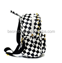 2015 China factory korean style school bags white & black school backpack