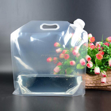 Unique design outdoor transparent 5L Spout Pouch Plastic Drinking Water Bag/Reusable beer packaging Spout Pouch with handle