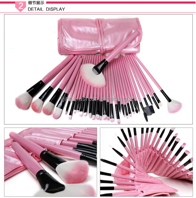 Beauty face use 32 pcs make up brush with pink PU bag