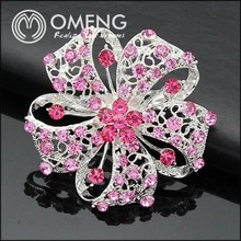 Factory Wholesale Rhinestone Brooch,New Design Make Fabric Flower Brooch