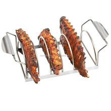 Reversible to bbq Roast Rack Durable Space Saving Stainless Steel Rack for Professional BBQ Grilling
