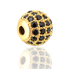 Hand crafts new zircon micro pave brass bead