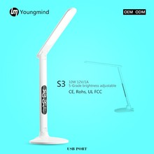 DC 12 LED side light desk led table lamp with touch dimmer and LCD calendar