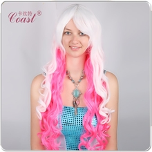 cheap middle length curly nice purple party wigs human wigs natural party wig