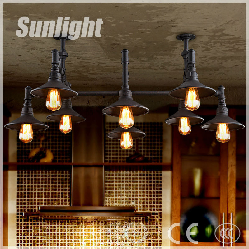 modern industrial luxury style retro water pipe decoration vintage iron pendant lamp/lighting