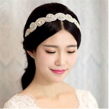 BSCI Audited Factory Wholesale Handmade Wide Crystal Stretch Rhinestone Beaded Headband For Wedding Bridal Hair Accessories