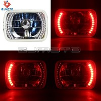 7*6 Halogen Motorcycle Car Headlight Red LED Halo Angel Eye Turn Signal Strong Light Bulb H4 Super White light 55 - WT